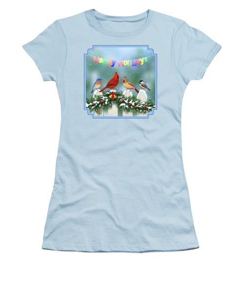 Christmas Birds And Garland Women's T-Shirt (Junior Cut) by Crista Forest