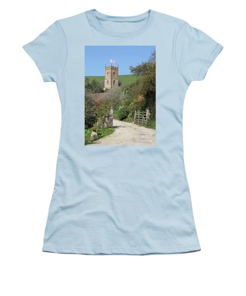 Women's T-Shirt (Junior Cut) featuring the photograph Church And The Flag by Linda Prewer