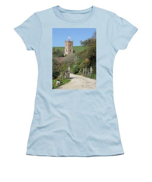 Church And The Flag Women's T-Shirt (Junior Cut) by Linda Prewer