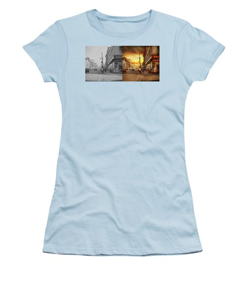 Women's T-Shirt (Athletic Fit) featuring the photograph City - Amsterdam Ny - The Lost City 1941 - Side By Side by Mike Savad