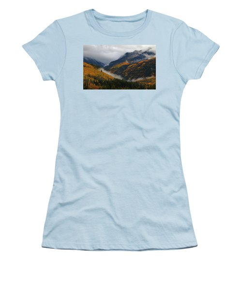 Women's T-Shirt (Junior Cut) featuring the photograph Clouds And Fog Encompass Autumn At Mcclure Pass In Colorado by Jetson Nguyen