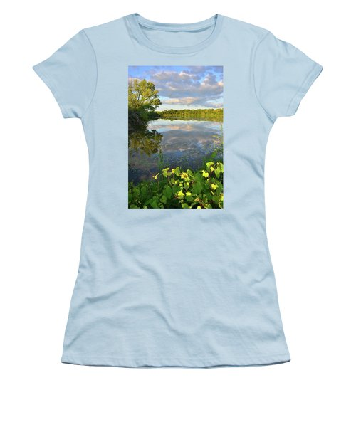 Clouds Mirrored In Snug Harbor Women's T-Shirt (Athletic Fit)