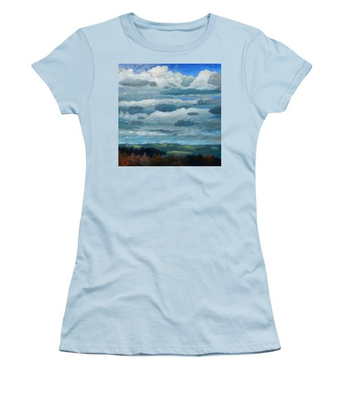 Women's T-Shirt (Junior Cut) featuring the painting Clouds Over South Bay by Gary Coleman