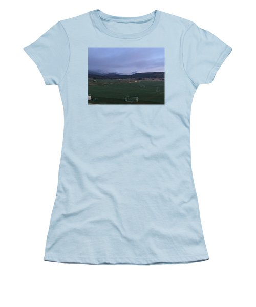 Women's T-Shirt (Junior Cut) featuring the photograph Cloudy Morning At The Field by Christin Brodie