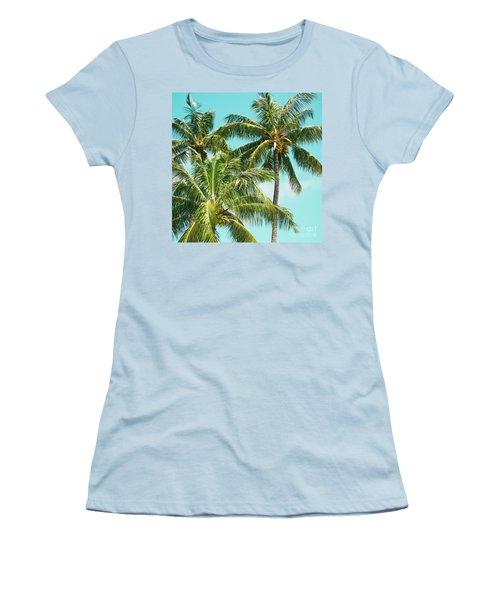 Coconut Palm Trees Sugar Beach Kihei Maui Hawaii Women's T-Shirt (Junior Cut) by Sharon Mau