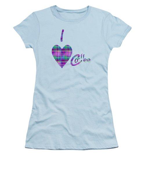 Coffee In Plaid Women's T-Shirt (Junior Cut) by Kathleen Sartoris