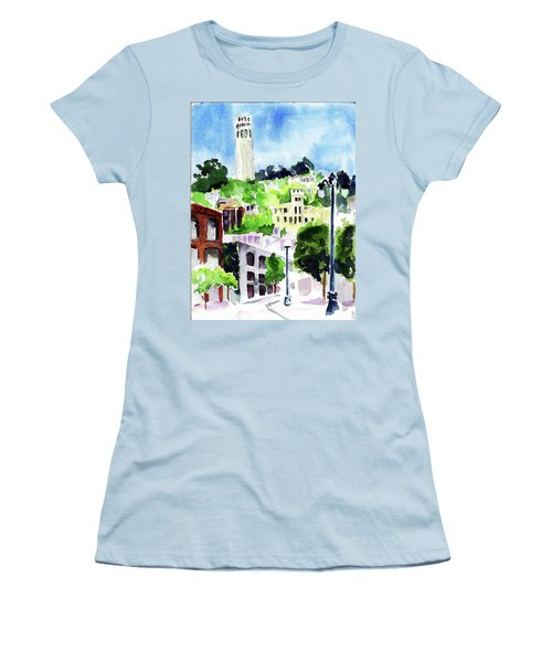 Coit Tower From The Embarcadero Women's T-Shirt (Junior Cut) by Tom Simmons
