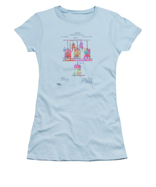 Colorful 1873 Brewing Beer And Ale Patent Artwork Women's T-Shirt (Athletic Fit)