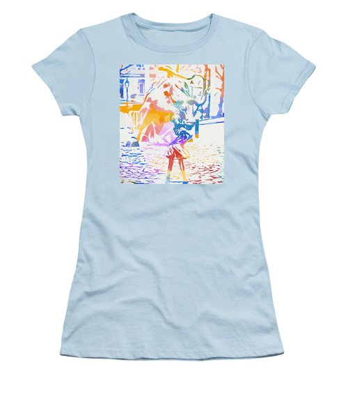 Women's T-Shirt (Junior Cut) featuring the painting Colorful Fearless Girl by Dan Sproul