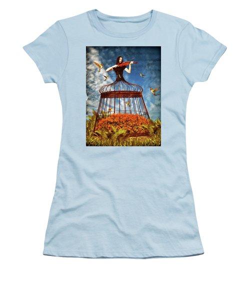 Colorful Hummingbird Song Women's T-Shirt (Junior Cut) by Mihaela Pater
