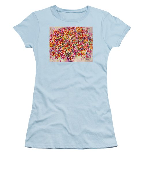 Women's T-Shirt (Junior Cut) featuring the painting Colorful Organza by Natalie Holland