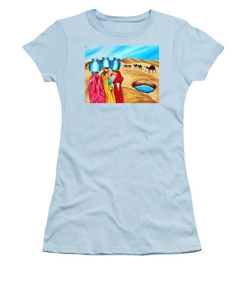 Women's T-Shirt (Junior Cut) featuring the painting Colour Of Oasis by Ragunath Venkatraman