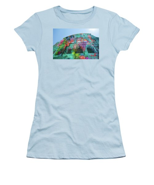 Women's T-Shirt (Athletic Fit) featuring the mixed media Colourful Grungy Colosseum In Rome by Clare Bambers