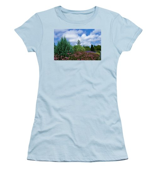 Coneflowers And Clouds Women's T-Shirt (Junior Cut) by Lois Lepisto