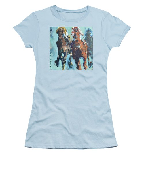 Contemporary Horse Racing Painting Women's T-Shirt (Athletic Fit)