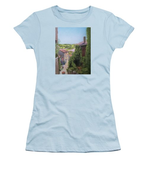 Women's T-Shirt (Junior Cut) featuring the mixed media Cordes Sur Ciel by Constance DRESCHER