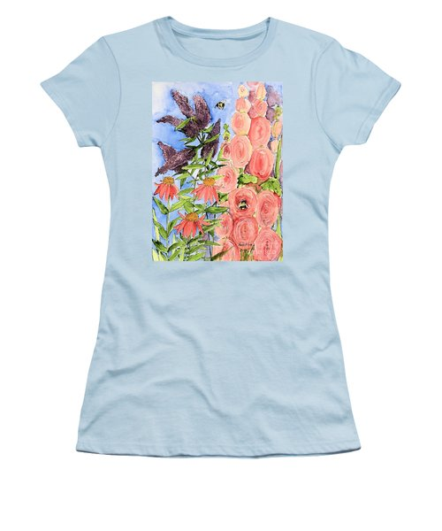 Cottage Garden Hollyhock Bees Blue Skie Women's T-Shirt (Athletic Fit)