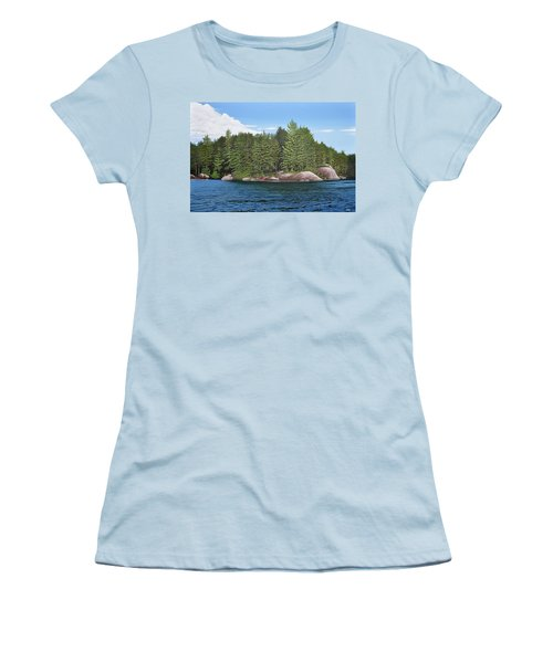 Women's T-Shirt (Junior Cut) featuring the painting Cottage View Silver Lake by Kenneth M Kirsch