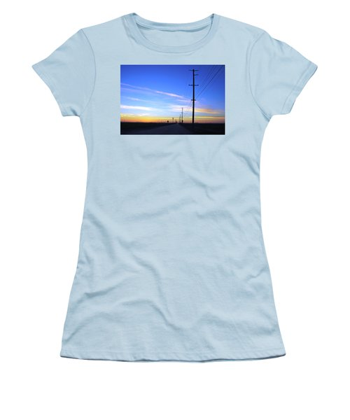 Women's T-Shirt (Athletic Fit) featuring the photograph Country Open Road Sunset - Blue Sky by Matt Harang