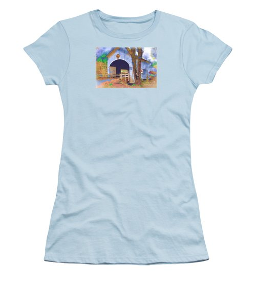 Covered Bridge In Watercolor Women's T-Shirt (Junior Cut) by Kirt Tisdale