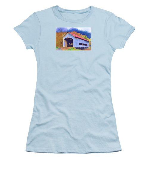 Covered Bridge With Red Roof Women's T-Shirt (Junior Cut) by Kirt Tisdale