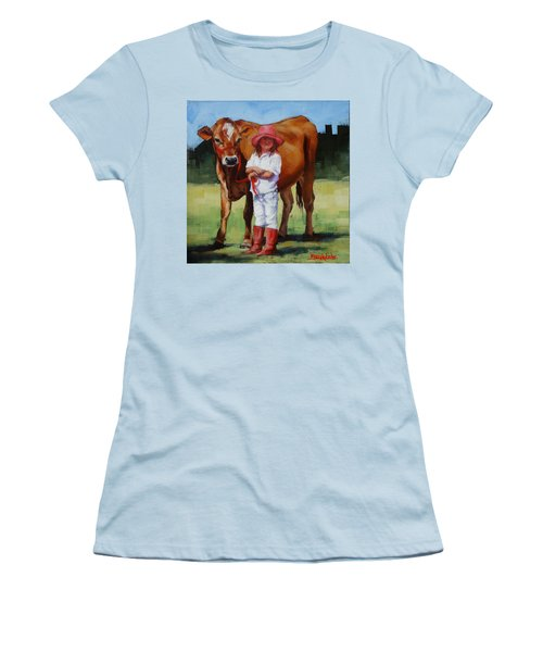 Women's T-Shirt (Junior Cut) featuring the painting Cowgirl Besties by Margaret Stockdale