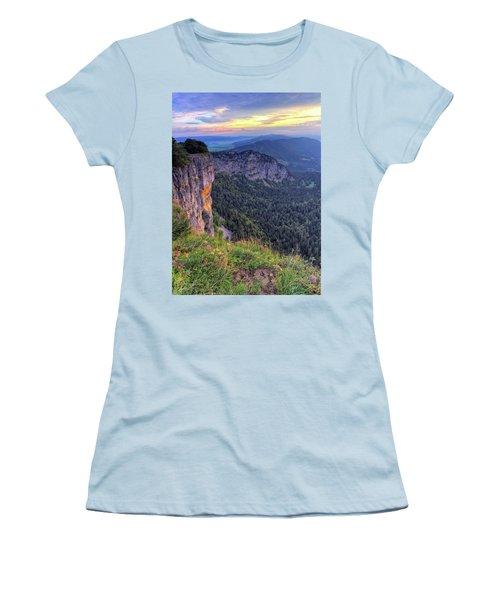 Creux-du-van Or Creux Du Van Rocky Cirque, Neuchatel Canton, Switzerland Women's T-Shirt (Athletic Fit)