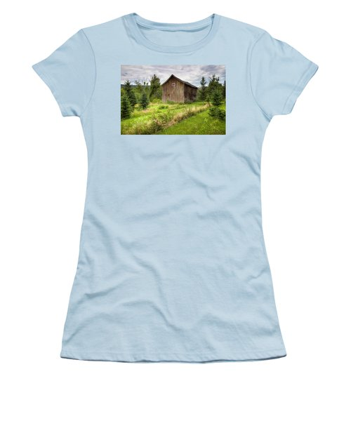 Women's T-Shirt (Junior Cut) featuring the photograph Crooked Old Barn On South 21 - Finger Lakes New York State by Gary Heller