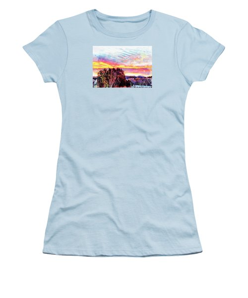 Women's T-Shirt (Junior Cut) featuring the photograph Crows Over Pre Dawn El Valle by Anastasia Savage Ealy