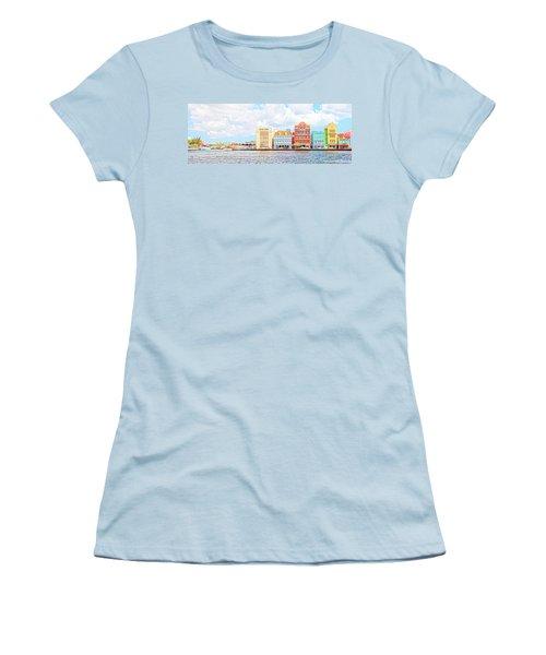 Women's T-Shirt (Junior Cut) featuring the photograph Curacao Awash by Allen Carroll