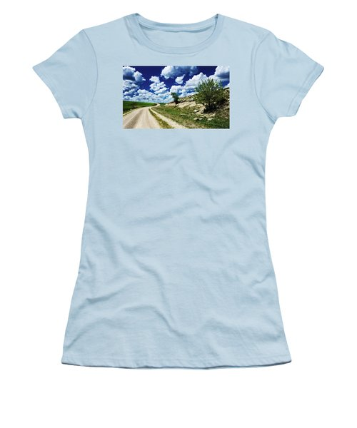 Curving Gravel Road Women's T-Shirt (Athletic Fit)