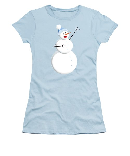 Cute Happy Snowman Women's T-Shirt (Athletic Fit)