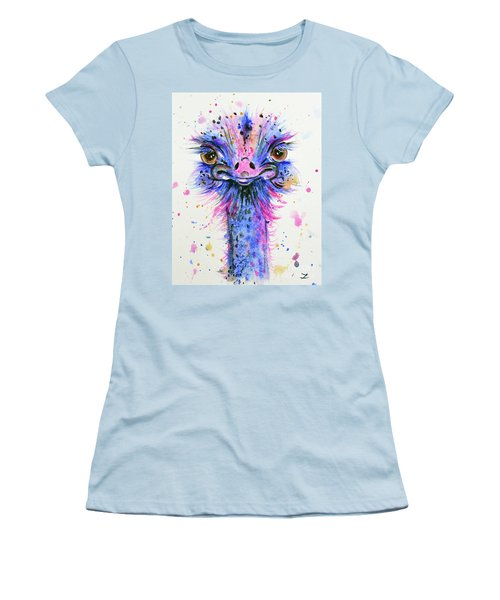 Cute Ostrich Women's T-Shirt (Junior Cut) by Zaira Dzhaubaeva