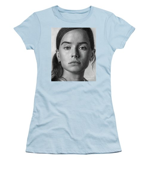 Daisy Ridley Pencil Drawing Portrait Women's T-Shirt (Athletic Fit)