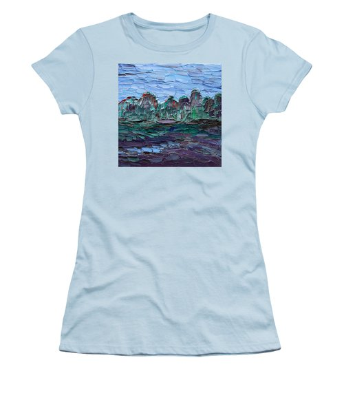 Women's T-Shirt (Athletic Fit) featuring the painting Dance In The Rain by Vadim Levin