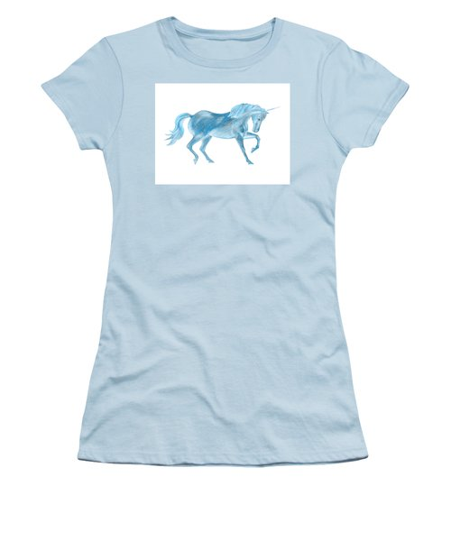 Women's T-Shirt (Athletic Fit) featuring the mixed media Dancing Blue Unicorn by Elizabeth Lock