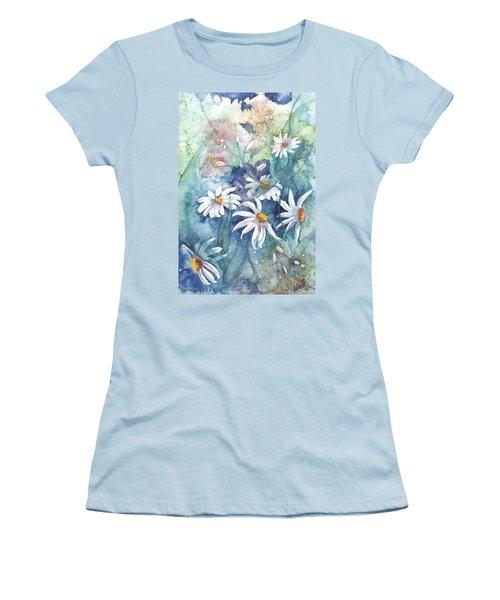 Women's T-Shirt (Junior Cut) featuring the painting Dancing Daisies by Renate Nadi Wesley