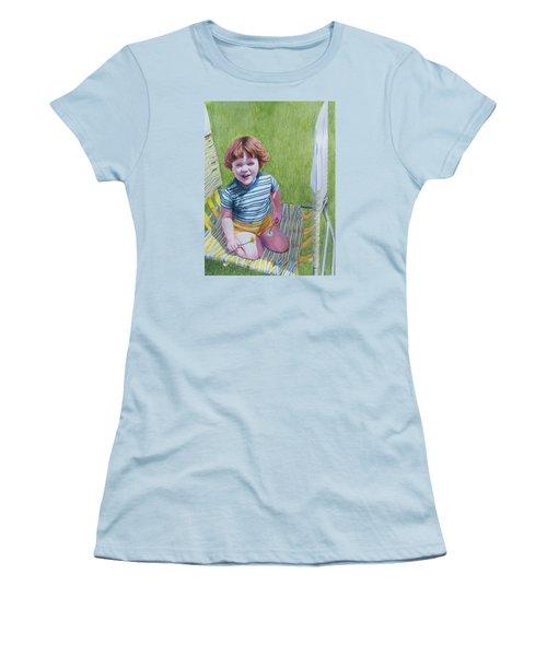 Women's T-Shirt (Junior Cut) featuring the mixed media Dandelion Girl by Constance DRESCHER