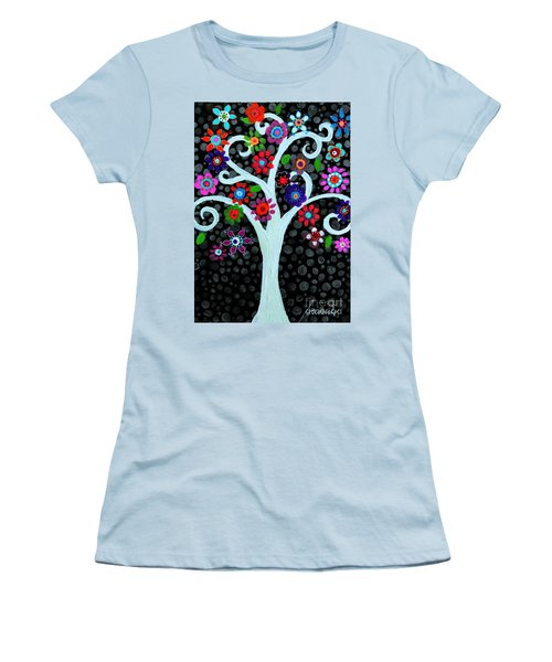 Women's T-Shirt (Athletic Fit) featuring the painting Darkness Of Light by Pristine Cartera Turkus