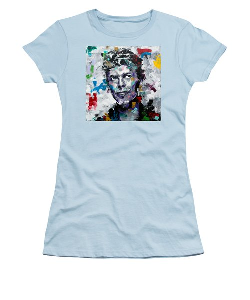 Women's T-Shirt (Junior Cut) featuring the painting David Bowie II by Richard Day