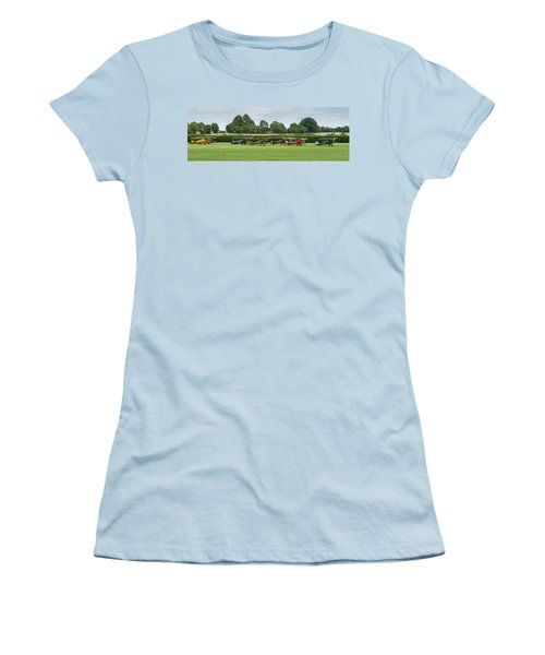 Women's T-Shirt (Athletic Fit) featuring the photograph De Havilland Tiger Moths Line-up by Gary Eason