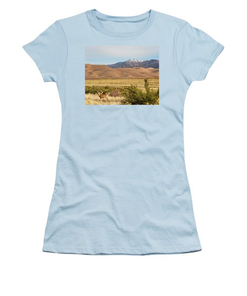 Women's T-Shirt (Junior Cut) featuring the photograph Deer And The Colorado Sand Dunes by James BO Insogna