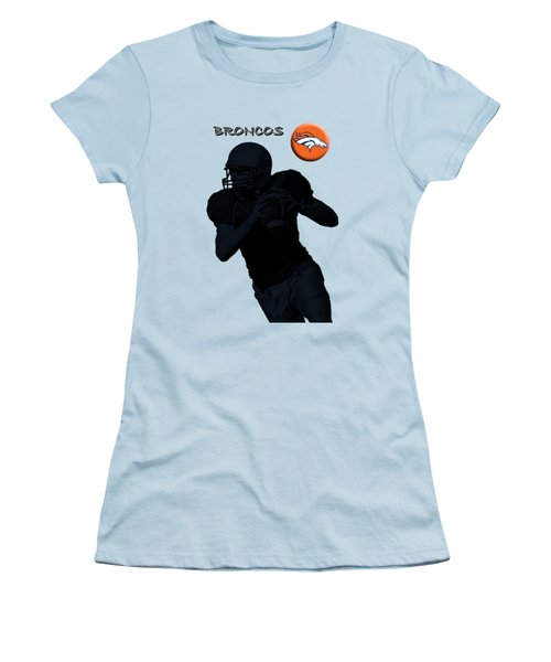 Women's T-Shirt (Junior Cut) featuring the digital art Denver Broncos Football by David Dehner