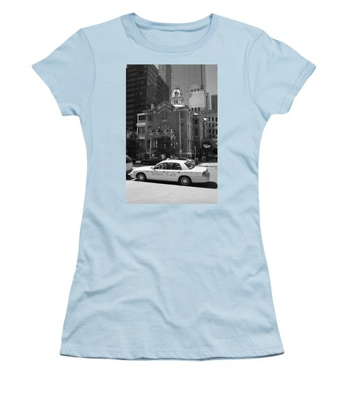 Denver Downtown With Yellow Cab Bw Women's T-Shirt (Junior Cut) by Frank Romeo