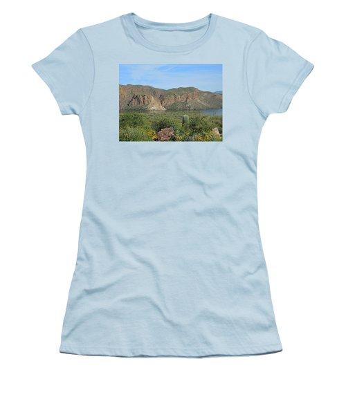 Women's T-Shirt (Athletic Fit) featuring the digital art Desert Flora Over Canyon Lake by Lynda Lehmann