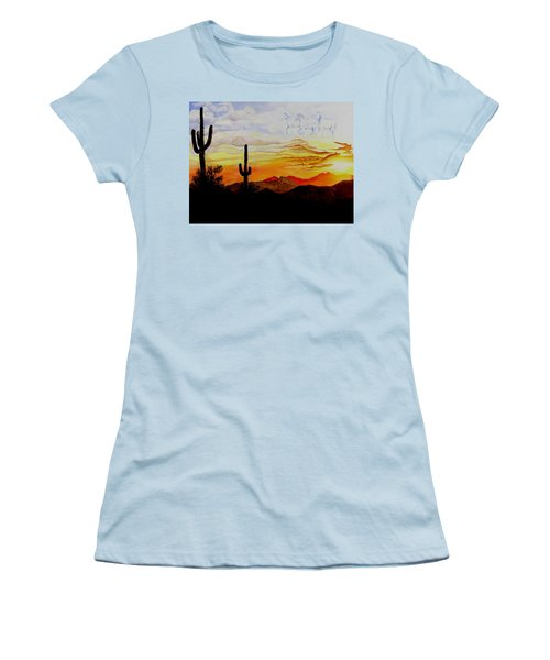 Desert Mustangs Women's T-Shirt (Junior Cut) by Jimmy Smith