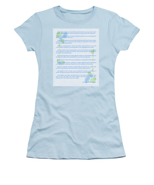 Desiderata In Blue Women's T-Shirt (Athletic Fit)