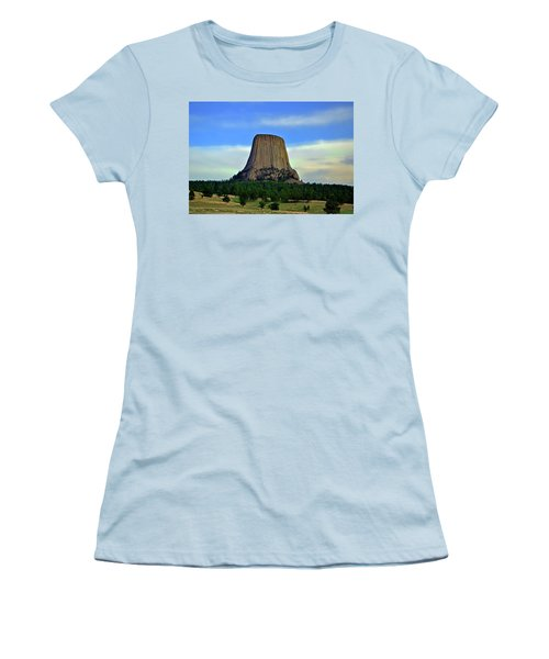 Women's T-Shirt (Junior Cut) featuring the photograph Devils Tower 002 by George Bostian