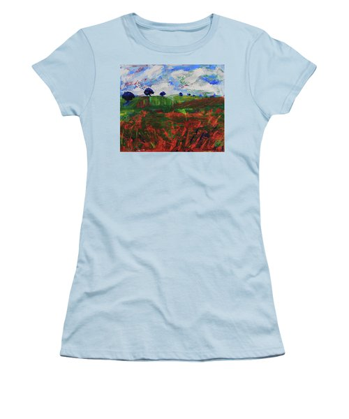 Women's T-Shirt (Athletic Fit) featuring the painting Distant Vineyards by Walter Fahmy