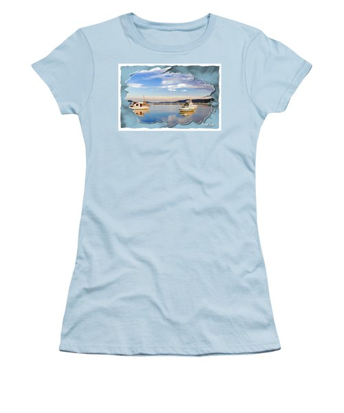 Women's T-Shirt (Athletic Fit) featuring the photograph Do-00115 Boats In Gosford by Digital Oil